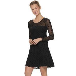 Nina Leonard Flocked Dot A-Line Dress!